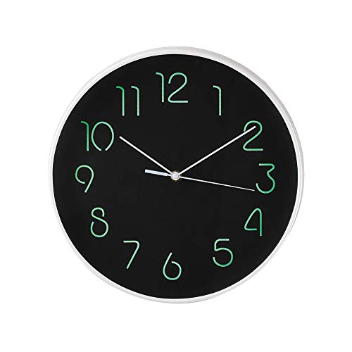 Collections Etc Simple Black Glow-in-The-Dark Wall Clock, Easy-to-Read Display for Any Room in Home