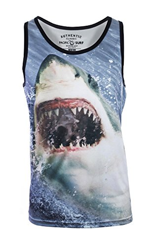 Pacific Surf Men's Tank Slim Fit Muscle Shirt Shark XL by Pacific Surf