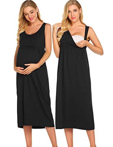 Ekouaer Maternity Maxi Empire Waist Tank Dress for Women (Empire Slip Dress)