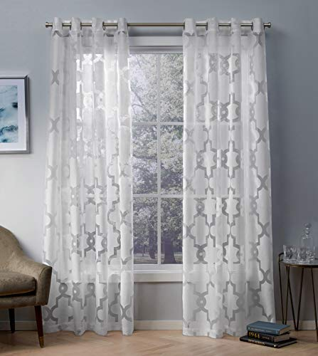 (Exclusive Home Curtains Essex Geometric Sheer Burnout Window Curtain Panel Pair with Grommet Top, 52x84, Winter White, 2 Piece)