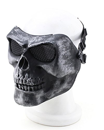 YX Metallic Mask For Bicycling/ Halloween/ Skull Skeleton/ Airsoft/ Paintball/ BB Gun, A Full Face Protection Mask Shot Helmets