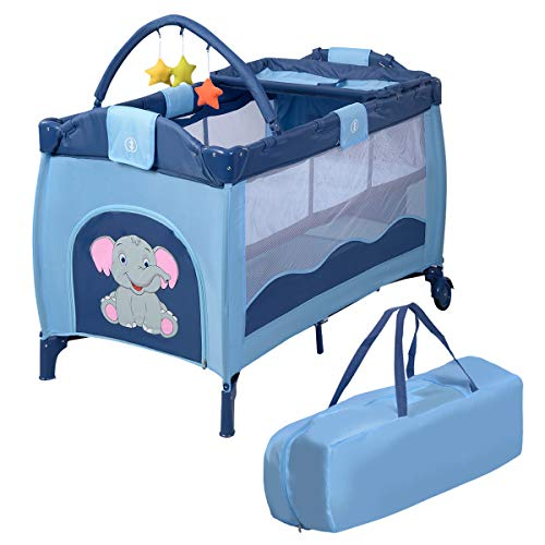 Giantex Nursery Center Playyard Baby Crib Set Portable Nest Bassinet Bed Infant Kids Travel Playpen Pack Deluxe Double-Layer Beds Pocket Diapter Changer Toy Cribs Nursery Centers w/Bag & Caster