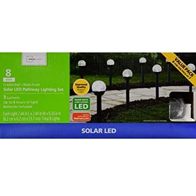 Solar Powered Crackle Ball 8 Pack Black Finish Outdoor Landscape Gardens, Pathways, Driveways, TreeHouses and Campsites. Lumen Shines With A Warm White Light Glow. Eight hours of Sun Powered Light.: Kitchen & Dining