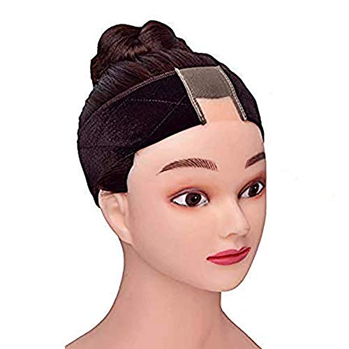 Wig Grip Band Women Gex Lace Wig Grip Headband Non Slip Breathable Thin Adjustable Velvet Comfort Set Head Hair Band Wig Scarf Hat Grip Band with 1 Wig Cap (Brown)