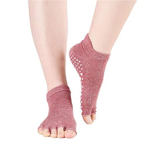 Lizes Calcetines antideslizantes de yoga de cinco dedos para mujer