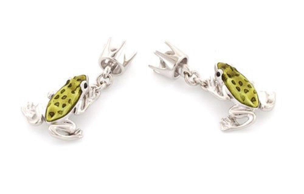 Sterling Silver and Enamel Chain Link Frog Prince and Crown Cufflinks