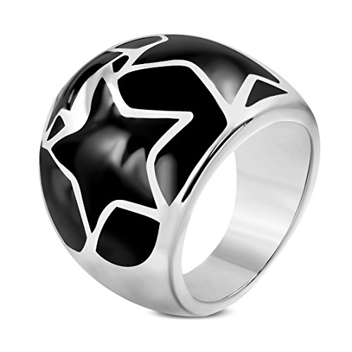 Stainless Steel 2 Color Black Enameled Star Cocktail Dome ()