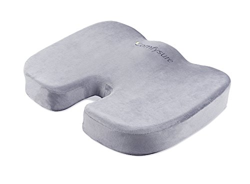 Tailbone and Coccyx Support Cushion - Soft and Firm Memory Foam Back and Lumbar Backrest Pillow for Office Chairs and Wheel Chairs - Relieves Pain and Pressure - By ComfySure