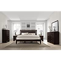 Gloria Brown Cherry Finish Wood Bed Room Set, King Bed, Dresser, Mirror, 2 Night Stands, Chest