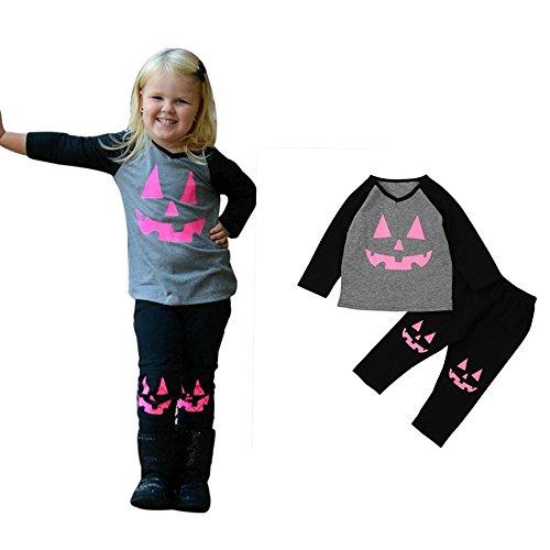Franterd Pumpkin Patch Halloween Outfits Set, Baby Girl T shirt Tops+Pants Clothes (Gray, 5T)