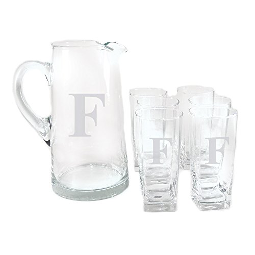 Personalized Tower of Power 7-piece Drink Set, Monogrammed Pitcher Set, Iced Tea Pitcher Set, Personalized Pitcher Set, Drink set for Entertaining, Monogrammed Pitcher and Glasses