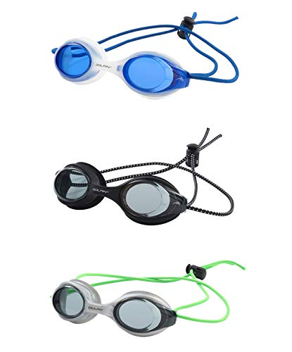 (Dolfin Bungee Racer Swim Goggle 3 Pack (Blue/Clear, Black/Black, Silver/Green, One Size))