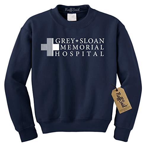 Grey Sloan Memorial Hospital Sweatshirt Sweater Crew Neck Pullover - Premium Quality (Small, Navy Blue)