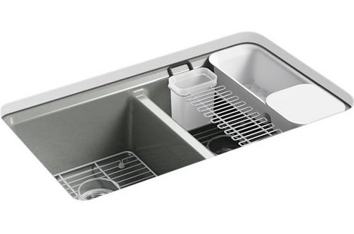 Kohler K-8679-5UA3-FT Riverby 33'' X 22'' X 9-5/8'' Under-Mount Double-Equal Kitchen Sink with Accessories and 5 Oversized Faucet Holes by Kohler