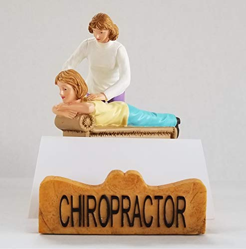 Chiropractor Business Cardholder Figurine. Gift and Collectible - White Female. by RoCo2 Enterprises
