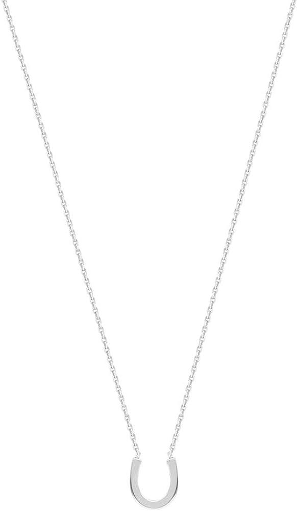 14kt White Gold East2West Mini Horseshoe Necklace adjustable