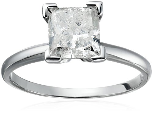 14k Princess Cut Solitaire White Gold Engagement Ring (2carat, H-I Color, I3 Clarity), Size 7