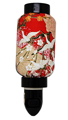 Red Crane Sakura Oriental Japanese Washi Night Light Lamp Candle Home Decor Birthday Housewarming Congratulatory Blessing Gift US Seller