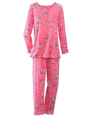 National Comfy Pointelle Knit Pajamas, Pink Floral, Petite (Floral Print Knit Pajamas)