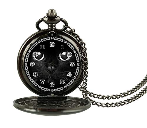 Hiuyi Cute Cat Face Black Custom Antique Personalized Men's Woman Roman Numerals Creative Pocket Watch Necklace (Antique Faces Necklace)