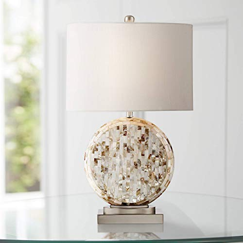 Tracey Coastal Accent Table Lamp Round Mother of Pearl Tiles Off White Oval Shade for Living Room Family Bedroom Bedside - 360 Lighting - Pearl White Shade