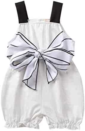 cba558a74 iHHAY Toddler Baby Girls Clothes,Summer Sleeveless Stripe Straps Bow  Jumpsuit Romper