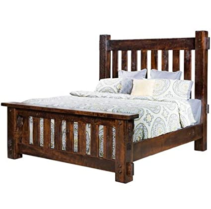 Amazon.com: Houston Amish Bed, Rough Sawn Brown Maple Wood ...