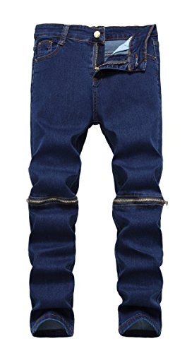 Boy's Blue Slim Fit Skinny Denim Jeans Ripped Elastic Pants with Zipper for Kids Blue Kids Jeans