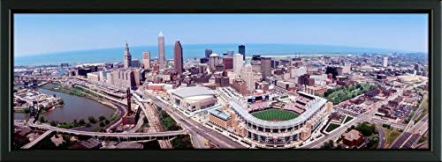 Easy Art Prints Panoramic Images's 'Aerial View of Jacobs Field, Cleveland, Ohio, USA' Premium Framed Canvas Art - 24