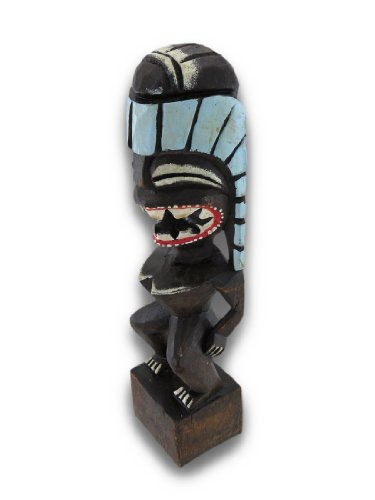Black-Hand-Crafted-Wooden-Tiki-Statue-12-In