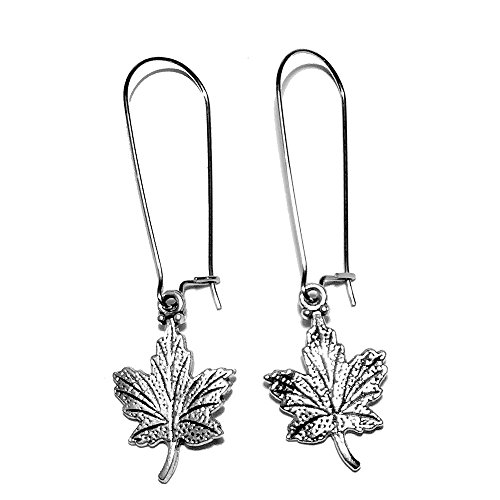 Canadian Jewelry (Sabai NYC Silvertone Canadian Maple Leaf Charm Dangle Earrings (Long Kidney Earwires))
