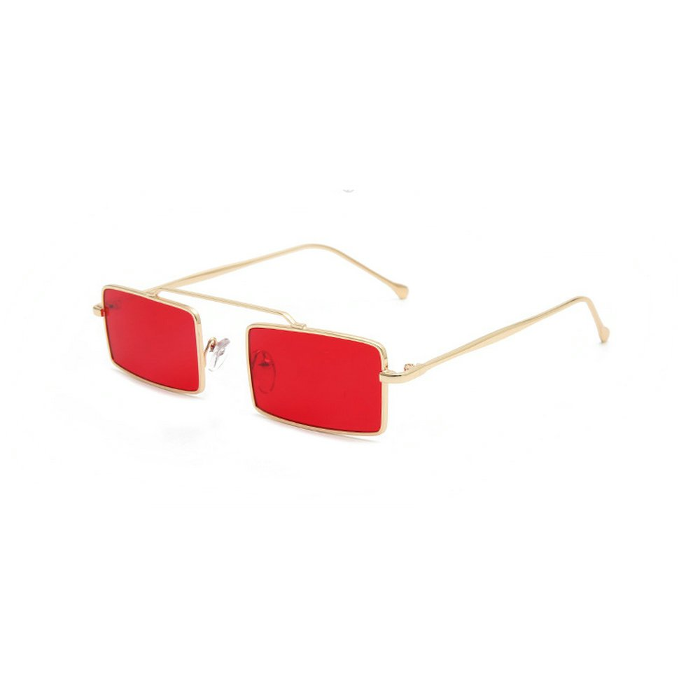 MINCL/Fashion Vintage Rectangular Summer Stylish Sunglasses Metal Frame Black Red Lens (red)