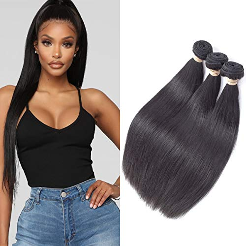Beauhiar 8A Brazilian Virgin Hair Straight 3 Bundles Deal 100% Unprocessed Silky Straight Human Hair Bundles Remy Hair Weaves Extensions Weft Natural Color Can be Dyed 12 14 16 Inches