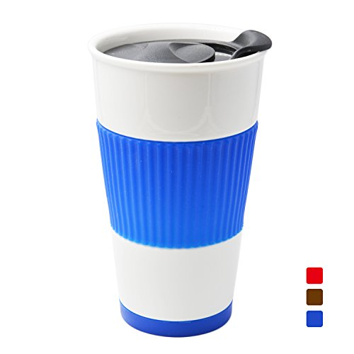UDMug Car Commuter Travel Coffee Ceramic Cup with Spill Proof Slider Lid, Silicone Sleeve & Built-In Coaster, 14 fl.oz (Blue)