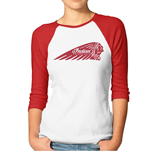 DavidBill T-Shirts for Women Indian Motorcycles Logo Cool 3/4 Sleeve Tee Red