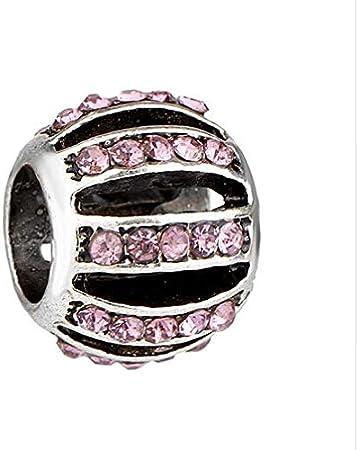 FidgetKute 10pcs European Silver CZ Charm Bead Fit Sterling 925 Necklace Bracelet DIY Chain 11 One Size