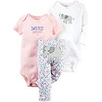 Carter's Baby Girls 3 Pc Back Art 126g368, Pink, 9 Months