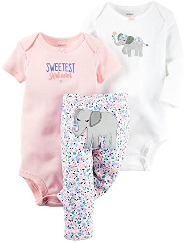 Carter's Baby Girls' 3 Pc Back Art 126g368, Elephant, New Born