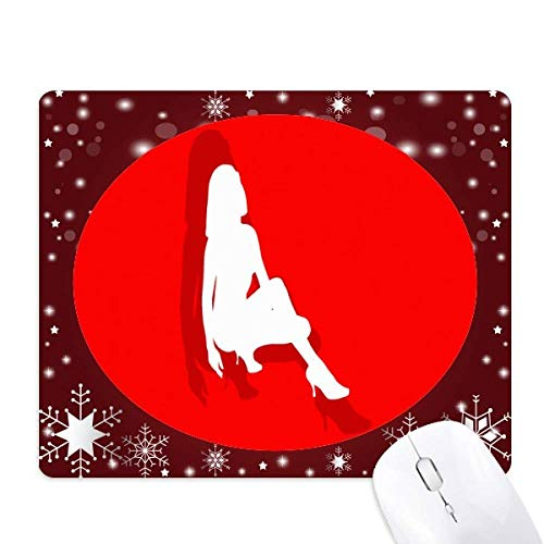 High-Heeled Shoe Women Mouse Pad Winter Snowflake Rubber ()