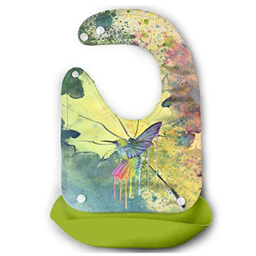Hummingbird Bird Watercolor Waterproof Silicone Bibs Water Resistant Drooler Bib