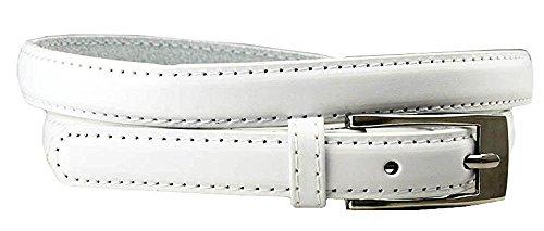 Genuine White Belt (Hagora Women's Candy Color Slim Thin Genuine Leather 3/4