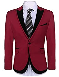 Mens Casual Suit Coat Jacket One-Button Blazers for Wedding, Date, Dinner