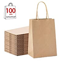 GSSUSA 100pcs Brown Kraft Paper Bags 5.25″ x 3.75″ x 8″,Handled, Shopping, Gift, Merchandise, Carry, Retail,Party Bags (Brown)