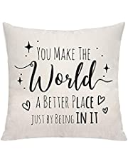 VAVSU You Make The World A Better Place Just by Being in It Throw Pillow Covers Pillowcases Sofa Bedding Cushion Covers Accessories for Daughter Mom Inspirational Gifts
