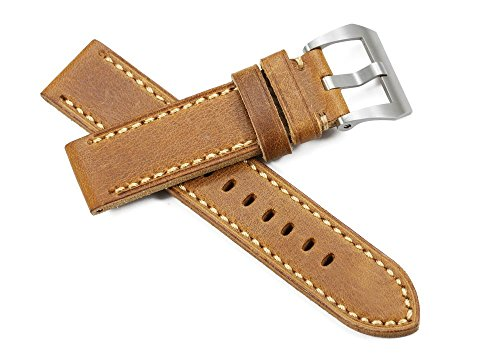 iStrap 20mm Watch Band Handmade Leather Straps Steel Tang Buckle Style Band for Panerai-Brown(Two Size Can Choose)