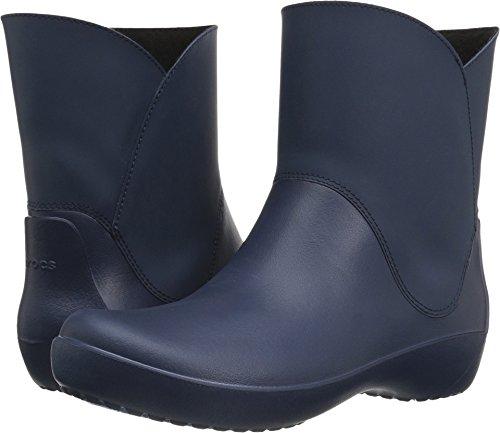 Crocs Women's Rainfloe Bootie Rain Boot, Navy, 8 M US (Boots Blue Croc)