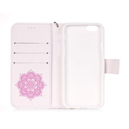 Trumpshop Smartphone Carcasa Funda Protección para Apple iPhone 5/5s/SE + Oro + PU Cuer Caja Protector con Función de Soporte Ranuras para Tarjetas Crédito Choque Absorción + 3 regalos Blanco y Rosa