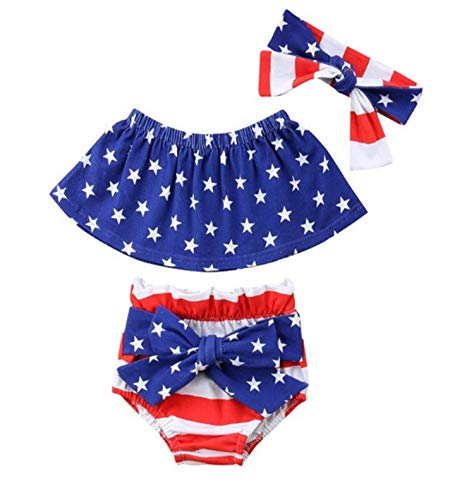 Styles I Love Infant Baby Girls Stars Stripes US Flag Design Sunsuit Romper Summer 4th of July Jumpsuit Patriotic Outfits (Tube Top+Bloomers, 90/12-18 Months)