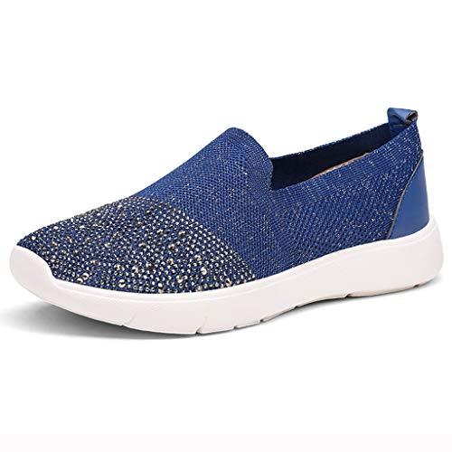 Fashion Respctful ♫♫Womens Casual Walking Canvas Sneaker Shoes Slip On Comfort Flats Sneakers Dark Blue