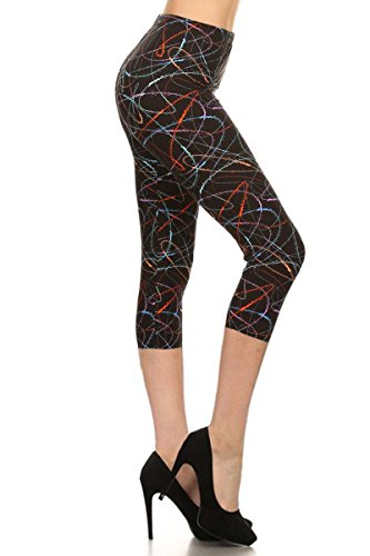 Leggings Depot Capri REG/Plus Women's Buttery Popular Prints BAT1 (One Size (Size 0-12), Multicolored Scribble)